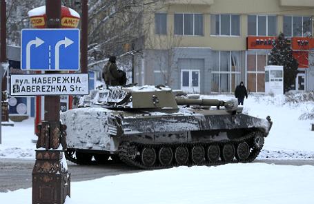 Военная техника в центре Донецка.