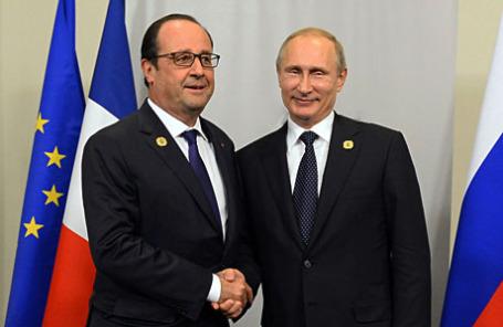 Президент Франции Франсуа Олланд и президент России Владимир Путин (слева направо).