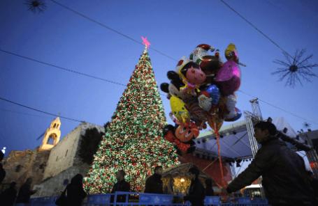 Рождественские украшения в Вифлееме, Западный берег реки Иордан.