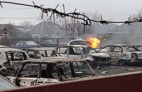 На месте обстрела в Мариуполе, 24 января 2015.