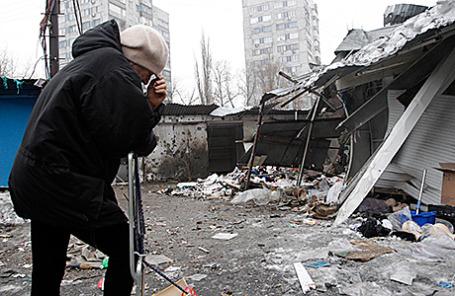 Последствия обстрела Донецка.