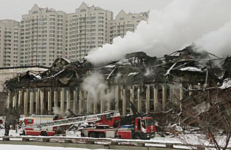 Пожар в здании библиотеки академического Института научной информации по общественным наукам.