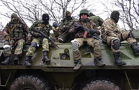 Бойцы армии ДНР на окраинах Углегорска, Донецкая область, Украина, 2 февраля 2015.