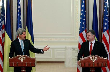 Госсекретарь США Джон Керри и президент Украины Петр Порошенко (слева направо).