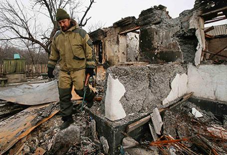 Ополченец в Донецкой области.