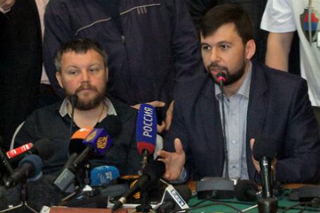 Вице-премьер ДНР Андрей Пургин  и председатель ДНР Денис Пушилин (слева направо).