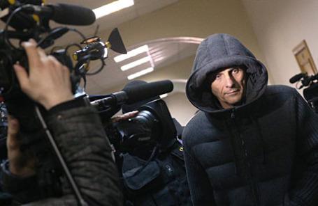Губернатор Сахалинской области Александр Хорошавин, подозреваемый в получении взятки в особо крупном размере, в Басманном суде.