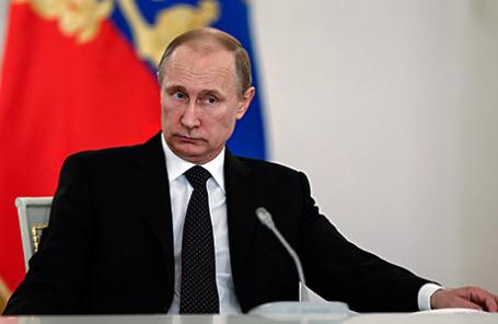 Президент РФ Владимир Путин на 36-м заседании российского организационного комитета «Победа» в Большом Кремлевском дворце.