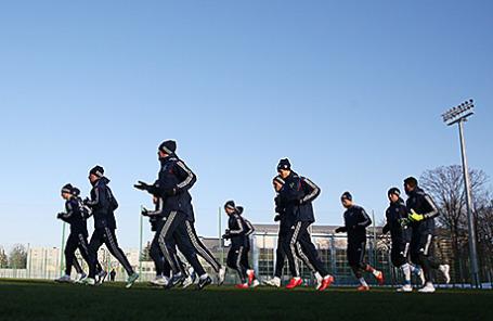 Тренировка сборной России по футболу перед матчем отборочного турнира чемпионата Европы.