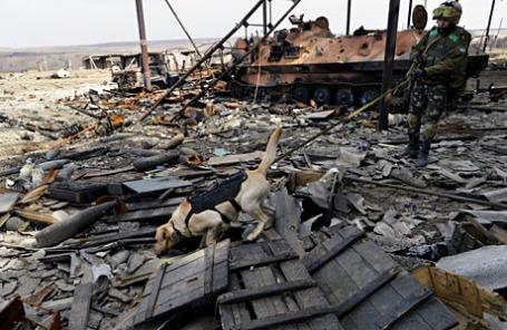 Украинский военнослужащий с собакой принимает участие в поисковой операции по обезвреживанию и уничтожению боеприпасов в поселке Луганское Донецкой области.