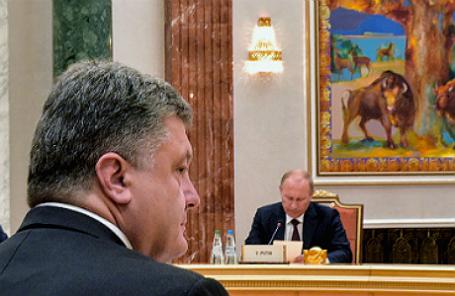 Президент Украины Петр Порошенко и президент России Владимир Путин.