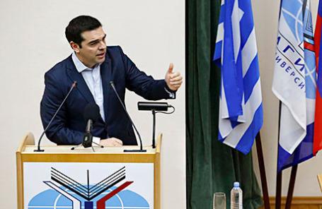 Премьер-министр Греции Алексис Ципрас выступает в МГИМО.