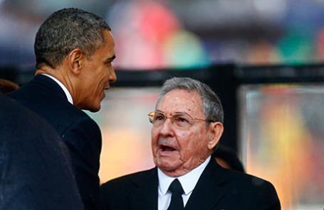 Президент США Барак Обама и президент Кубы Рауль Кастро.