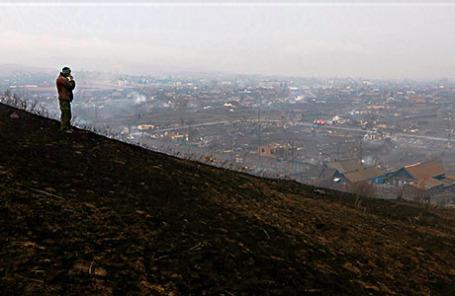 Последствия пожара в поселке Шира.