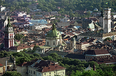 Вид на Львов, Украина.