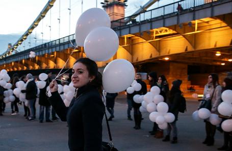 Во время акции памяти жертв геноцида армян в Османской империи (Парк Горького).
