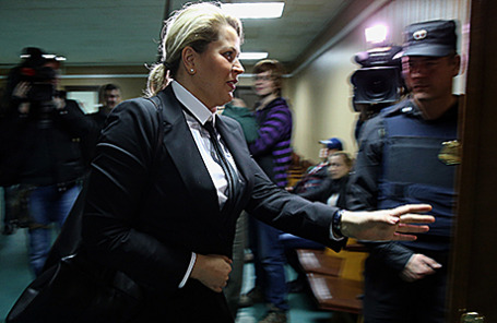 Бывшая глава Департамента имущественных отношений Минобороны РФ Евгения Васильева в Пресненском суде Москвы, 23 апреля 2015.