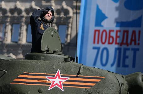 Во время генеральной репетиции Парада Победы на Красной площади.