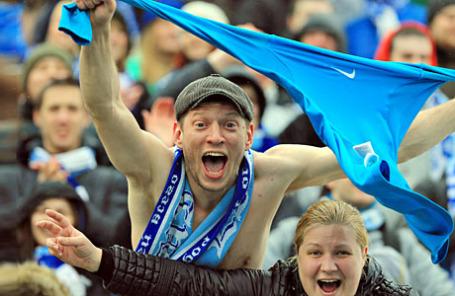 Болельщики «Зенита» во время матча.