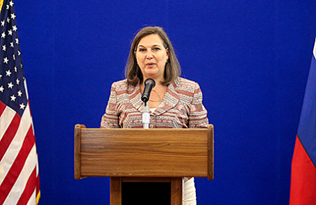 Заместитель госсекретаря США по вопросам Европы и Евразии Виктория Нуланд во время пресс-конференции в Москве, Россия, 18 мая 2015.