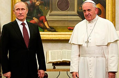 Президент России Владимир Путин и Папа Римский Франциск.