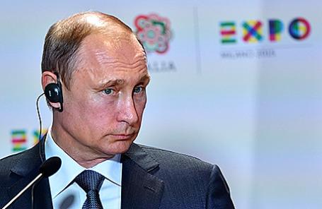 Президент РФ Владимир Путин на пресс-конференции в Милане, Италия, 10 июня 2015.