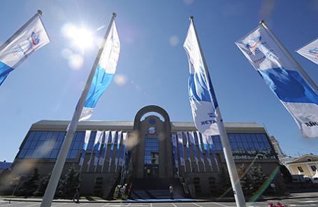 На территории выставочного комплекса «Ленэкспо» в Санкт-Петербурге, где пройдет Петербургский международный экономический форум.