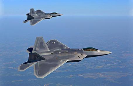 Американские реактивные истребители F-22 Raptor.