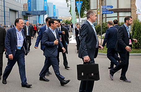 Греческая делегация  на Петербургском экономическом форуме.