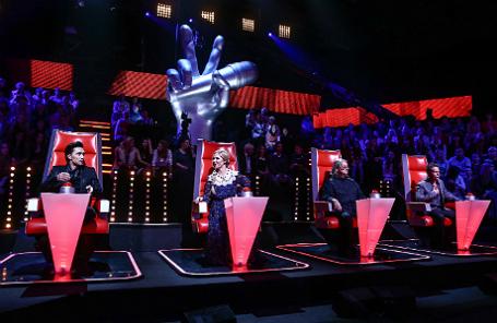 Съемки телевизионного музыкального шоу «Голос» в Москве.