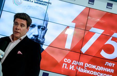 Пианист Денис Мацуев на пресс-конференции, посвященной проведению XV Международного конкурса имени П.И. Чайковского.