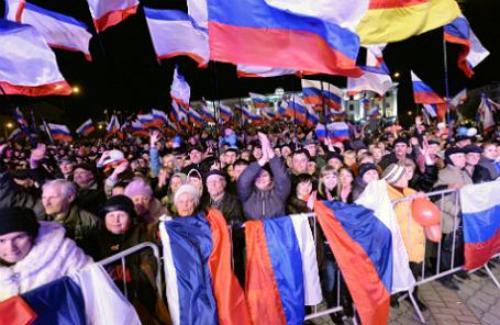 Симферополь. 16 марта. Во время концерта, посвященного дню референдума в Крыму, на площади Ленина.