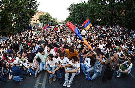 Протесты в Ереване, Армения.