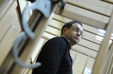 Экс-сенатор, топ-менеджер «Моего банка» Глеб Фетисов во время рассмотрения ходатайства следствия о мере пресечения в Басманном суде 28 февраля 2014 года.