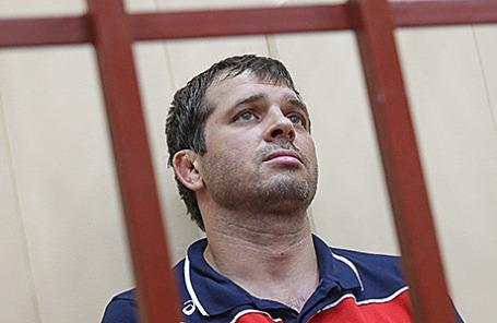 Глава Кизлярского района Дагестана Андрей Виноградов, задержанный в рамках расследования убийств, покушения на убийство, а также финансирования терроризма, во время рассмотрения ходатайства об аресте в Басманном суде в Москве, 29 июля 2015.