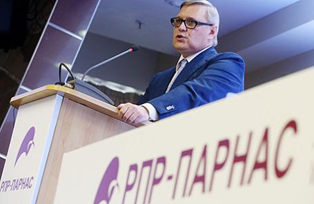 Сопредседатель РПР-ПАРНАС Михаил Касьянов на съезде партии.