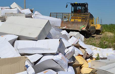 Уничтожение санкционных продуктов в Белгородской области.