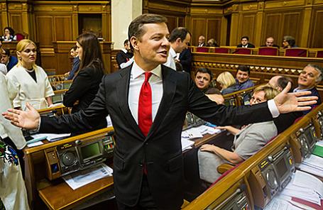 Лидер «Радикальной партии» Олег Ляшко во время заседания Верховной рады.