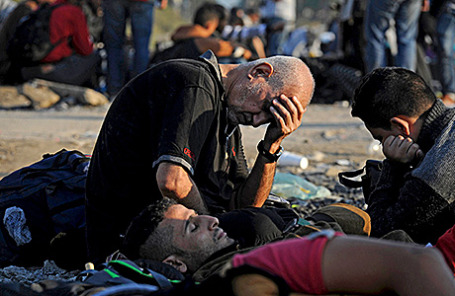 Мигранты на границе Греции с Македонией, 4 сентября 2015.