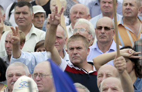 Протестующие в Кишиневе.