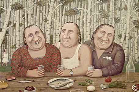 Картина Владимира Любарова «Депардье на троих».