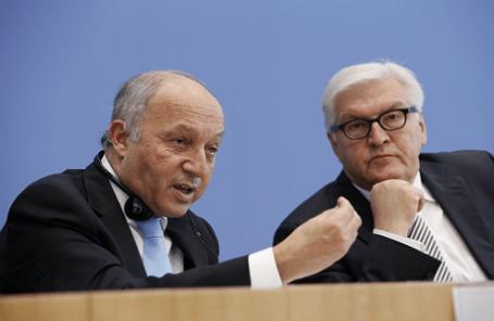 Главы МИД Франции и Германии Лоран Фабиус и Франк-Вальтер Штайнмайер (слева направо)
