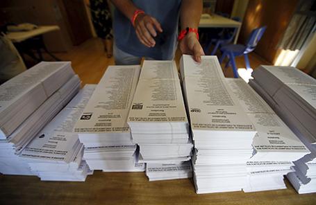 Подготовка к выборам в Барселоне, Испания.