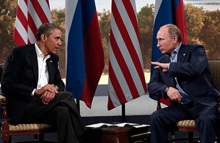 Президент России Владимир Путин (справа) и президент США Барак Обама.
