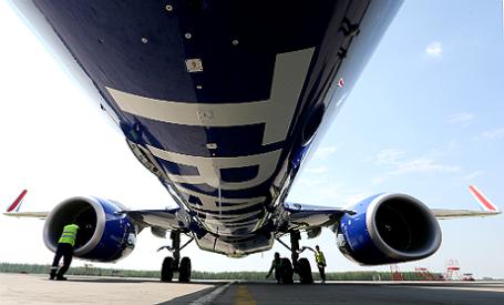 Самолет Boeing 737-800 в новой ливрее «Трансаэро».