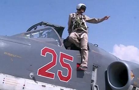 Пилот российских ВВС на сирийской авиабазе.