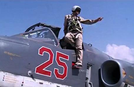 Пилот российских ВВС Су-25.