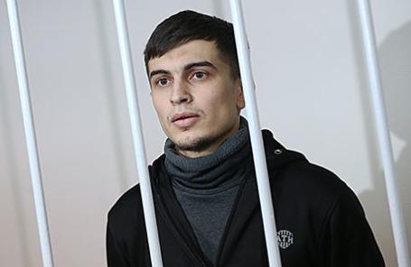 Аслан Байсултанов, подозреваемый в причастности к подготовке теракта в Москве, во время рассмотрения ходатайства об аресте в Лефортовском суде.