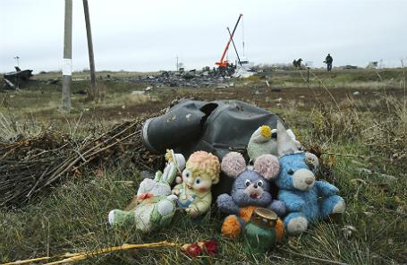 Мягкие игрушки, найденные на месте крушения малайзийского «Боинга» под Донецком.