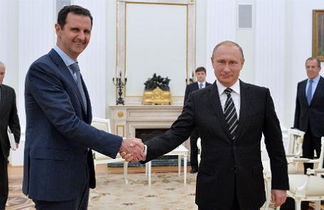 Президент Сирии Башар Асад и президент РФ Владимир Путин во время встречи в Кремле.